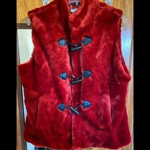 🛍Red Furry Vest